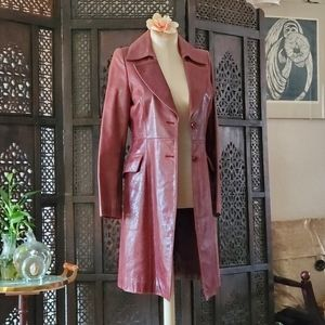 Vintage Berry colored long leather jacket